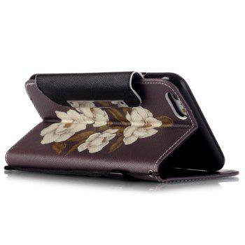 Stand PU Leather Wallet Card Design Floral Phone Case For iPhone 6S -  BROWN