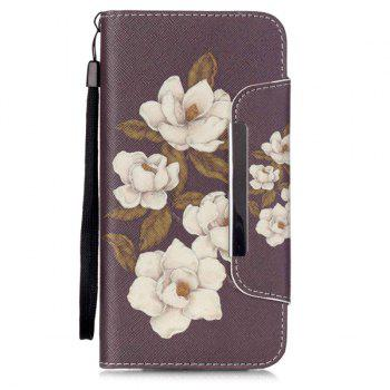 Stand PU Leather Wallet Card Design Floral Phone Case For iPhone 6S - BROWN BROWN