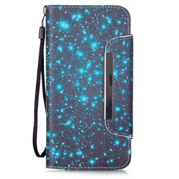 Starry Sky Stand PU Leather Wallet Card Holder Flip Case For iPhone 6S Plus - BLUE AND BLACK BLUE/BLACK
