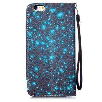 Starry Sky Stand PU Leather Wallet Card Holder Flip Case For iPhone 6S Plus -  BLUE/BLACK