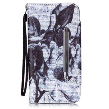 Newspaper Floral Flip Stand PU Leather Wallet Card Case For ipnone 6S Plus - WHITE AND BLACK WHITE/BLACK