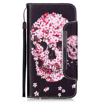Crâne floral flip stand PU Card Leather Wallet Fente iPhone 6S Case Plus