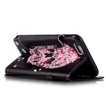 Crâne floral flip stand PU Card Leather Wallet Fente iPhone 6S Case Plus - Rouge et Noir