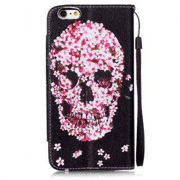 Skull Floral Flip Stand PU Leather Wallet Card Slot Case For iPhone 6S Plus -  RED/BLACK