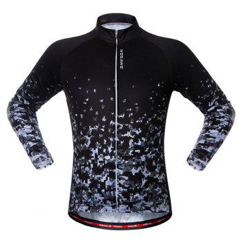 Long Sleeve Breathable Shadow Pattern Cycling Jersey