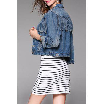 Denim Fringe Jacket - DENIM BLUE L