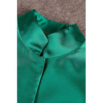 Peacock Embroidered Single Breasted Coat - GREEN XL