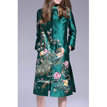 Peacock Embroidered Single Breasted Coat