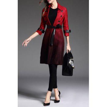 Ombre Skirted Wrap Coat - DEEP RED L