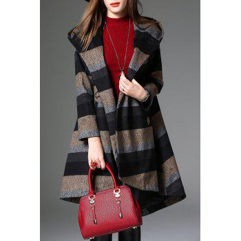 Hooded Striped Asymmetrical Coat