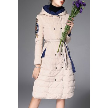 Hooded Embroidered Double Breasted Down Coat