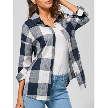Casual Long Sleeve Checkered BF Linen Shirt