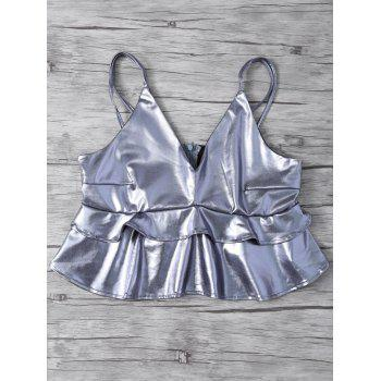 Ruffled Metallic Color Strappy Top