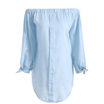 Chambray Tunic Off The Shoulder Shirt Dress