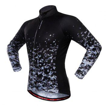 Long Sleeve Breathable Shadow Pattern Cycling Jersey - BLACK L