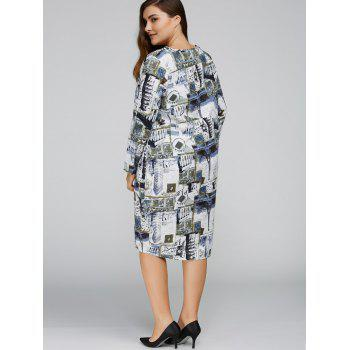 Plus Size Buildings Cocoon Dress with Pocket - GREY BLUE ONE SIZE