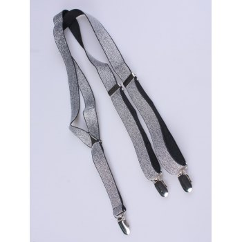 Silver Thread Adjustable Elastic Suspenders - SILVER