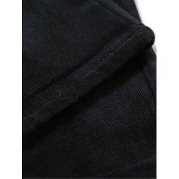 Zipper Fly Fleece Doublure Pantalon en velours côtelé uni - Cadetblue 31