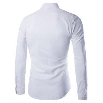 Button Up Turn-down col Chemise unie - Blanc XL