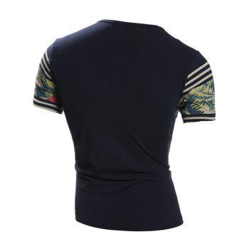Crew Neck Short Sleeve Stripe and Floral Print T-Shirt - SAPPHIRE BLUE L