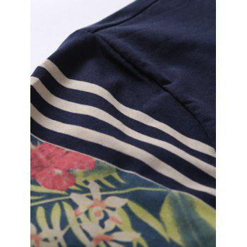 Crew Neck Short Sleeve Stripe and Floral Print T-Shirt - SAPPHIRE BLUE 2XL