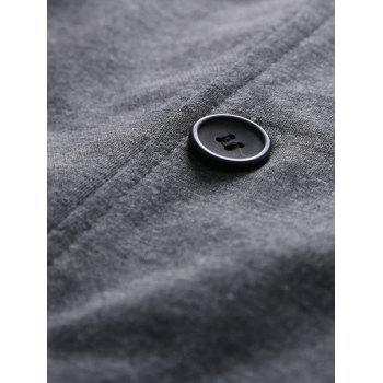 Single-Breasted Pockets Design Stand Collar Jacket - DEEP GRAY M