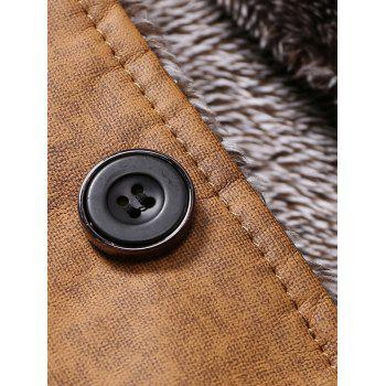Epaulet Embellished Stand Collar Single-Breasted Jacket - DEEP GRAY 2XL