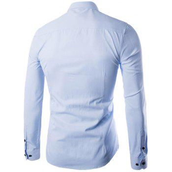 Plus Size Slimming Turn-Down Collar Long Sleeve Shirt - LIGHT BLUE L