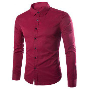 Plus Size Slimming Turn-Down Collar Long Sleeve Shirt - WINE RED WINE RED