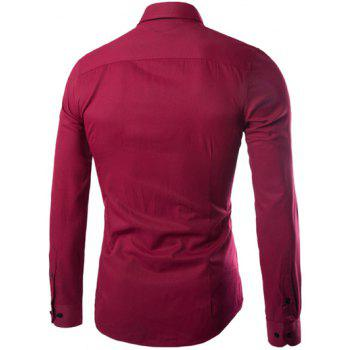 Plus Taille Slimming Col Rabattu Manches Longues - Rouge vineux 2XL
