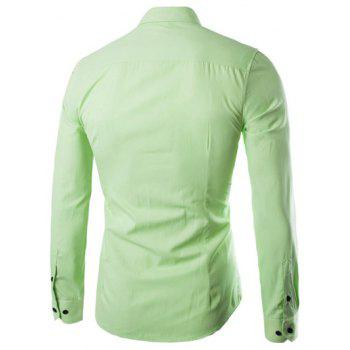 Plus Size Slimming Turn-Down Collar Long Sleeve Shirt - APPLE GREEN M
