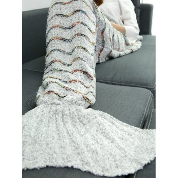 Soft Plush Stripe Sleeping Bag Wrap Mermaid Blanket - LIGHT GRAY