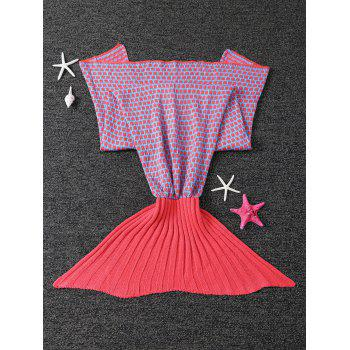 Soft Polka Dot Knitting Sleeping Bag Sofa Kids Wrap Mermaid Blanket - WATERMELON RED