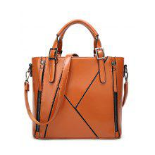 PU Leather Zippers Buckles Tote Bag