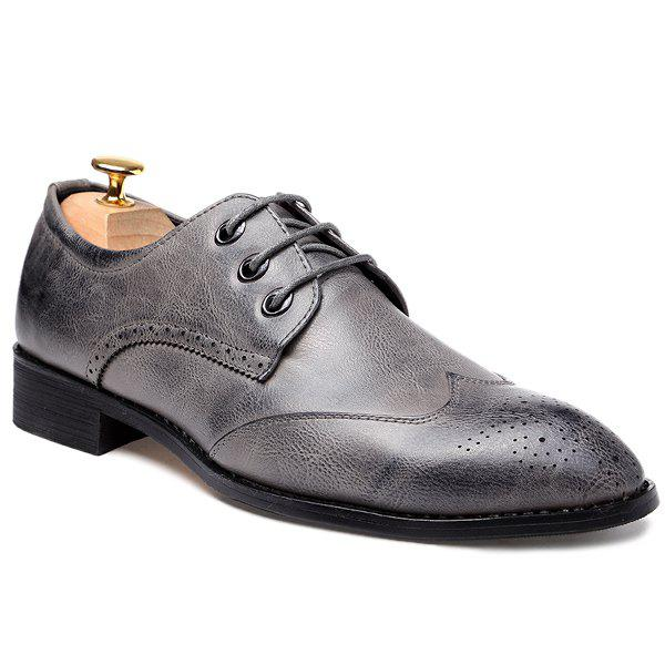 Pointed Toe Lace Up Engraving Formal Shoes - GRAY 43