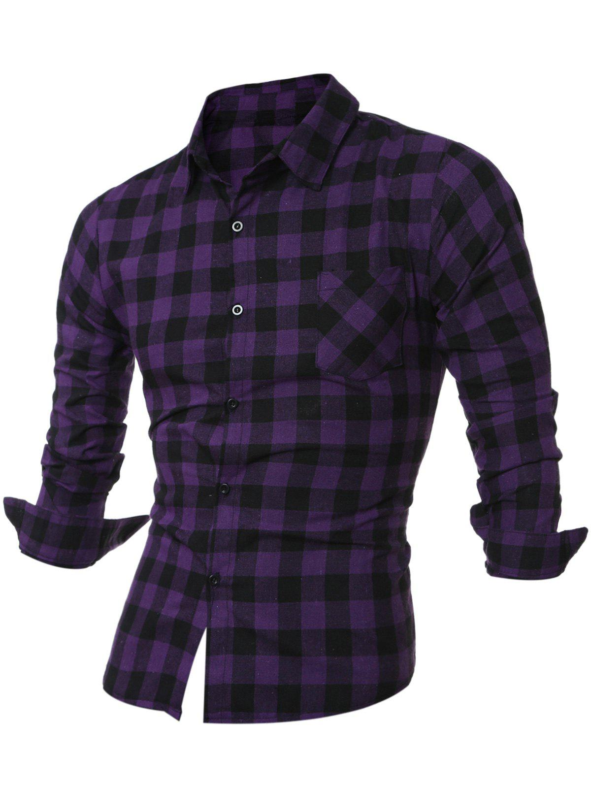 Breast Pocket Long Sleeve Button Up Plaid Shirt - PURPLE L