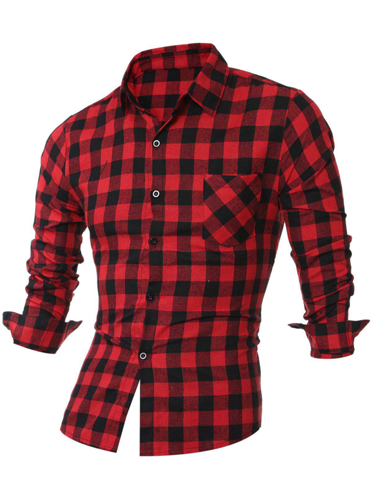 Breast Pocket Long Sleeve Button Up Plaid Shirt portable infrared breast diagnosis