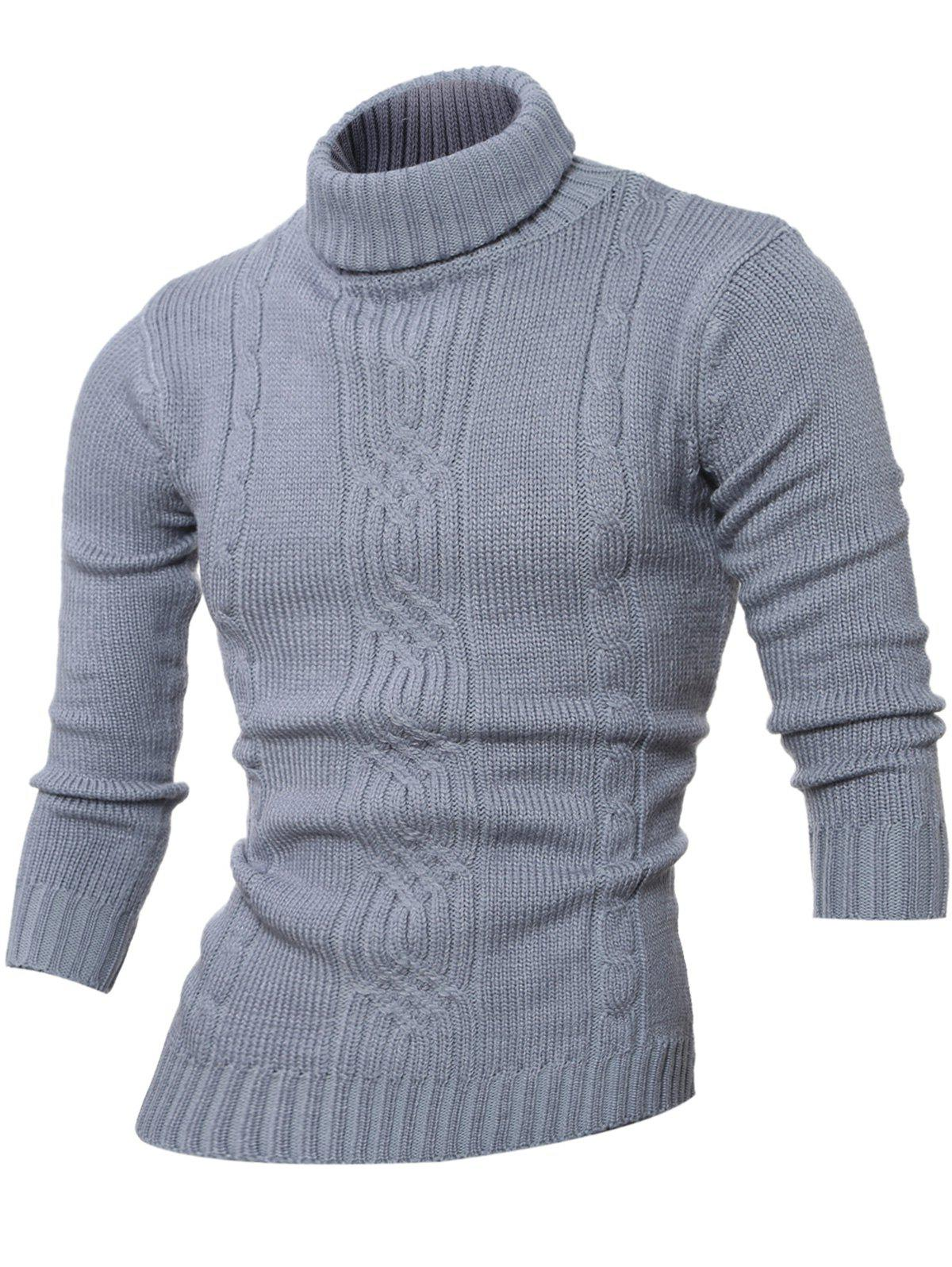Turtleneck à manches longues Rib-Hem Cable-Knit Sweater - Gris Clair M