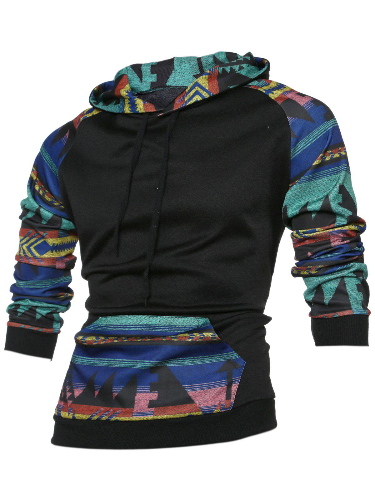 Kangaroo Pocket Raglan Sleeve Tribal Print Hoodie - BLACK L