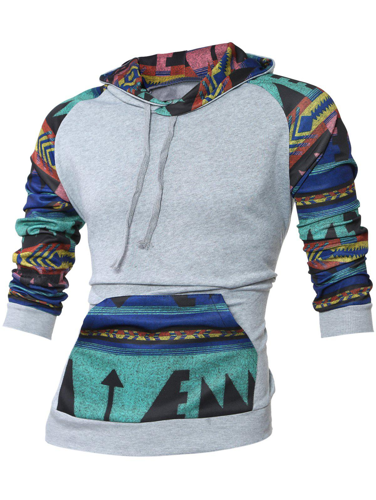 Kangaroo Pocket Raglan Sleeve Tribal Print Hoodie - LIGHT GRAY M