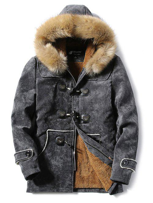 Furry Hood Fleece Horn Button Suede Coat sherpa fleece faux suede coat