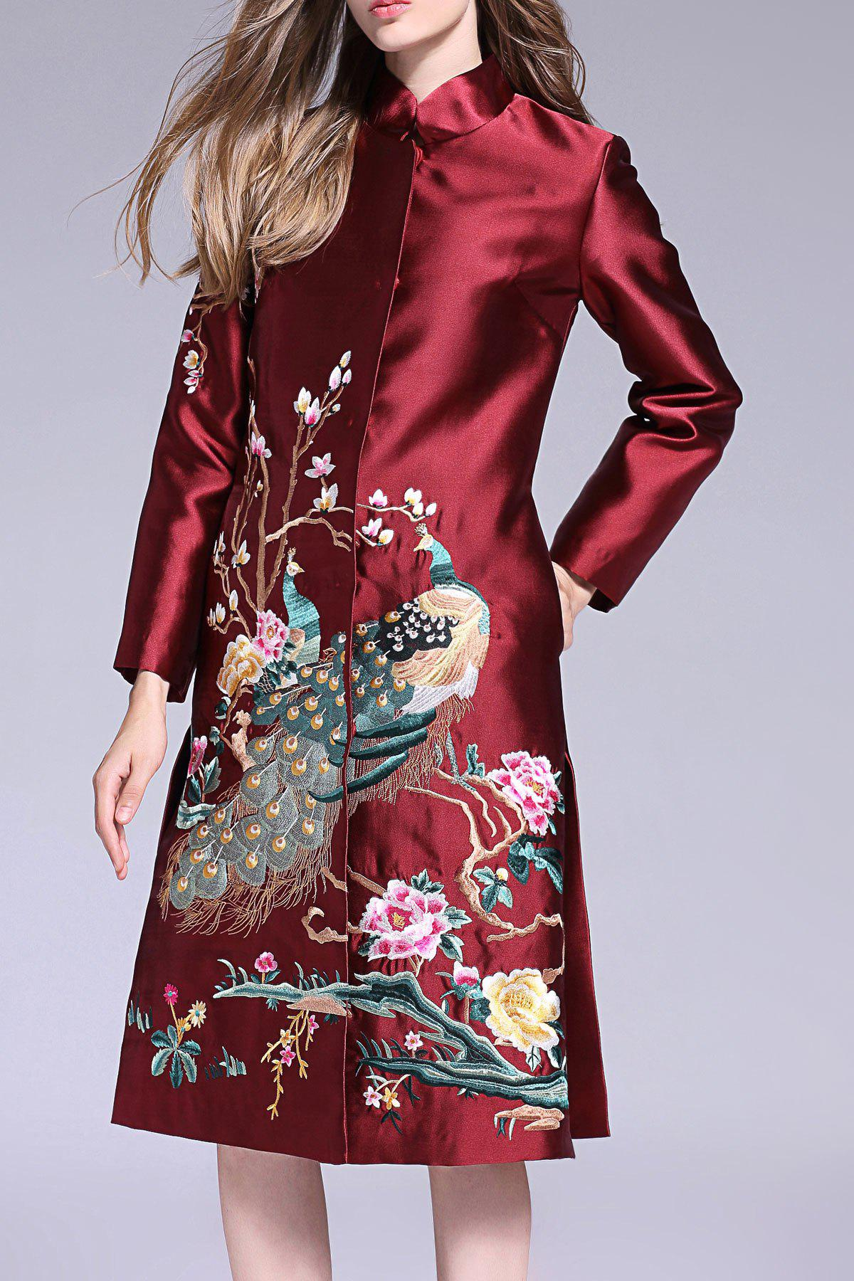 Peacock Embroidered Single Breasted Coat от Dresslily.com INT