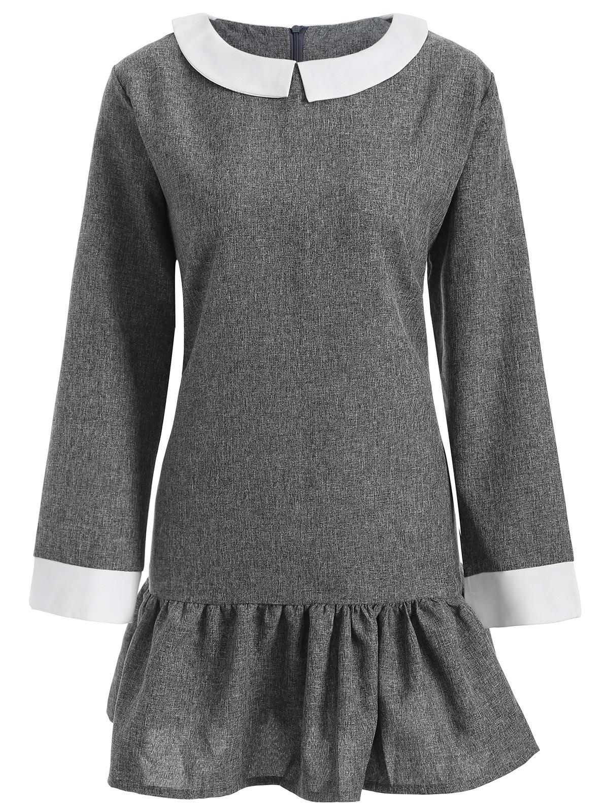 Plus Size Peter Pan Collar Dress - GRAY 5XL