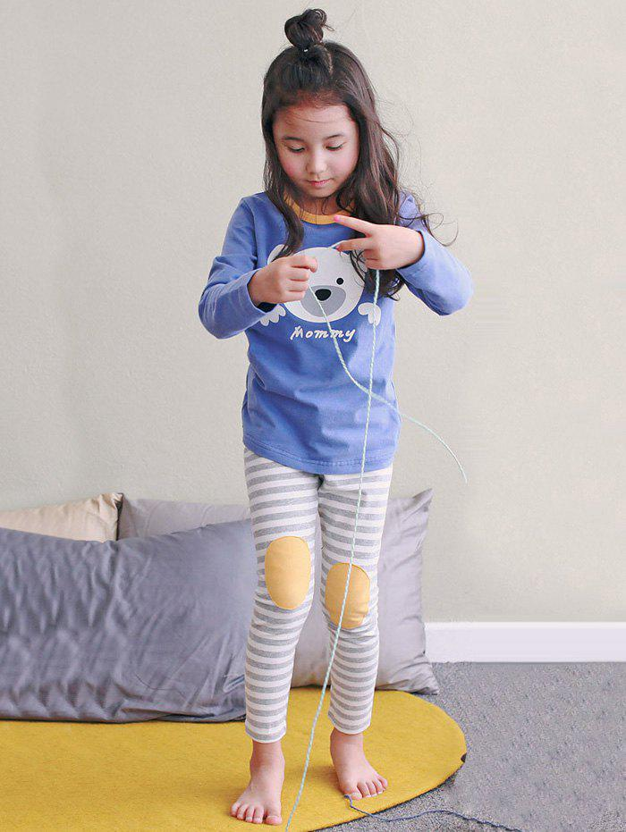 Kids Cartoon Bear Print Long Sleeve Striped Pajamas - BLUE 140