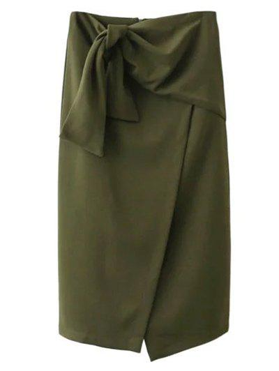 Tied Front Slit Asymmetric Skirt - ARMY GREEN S