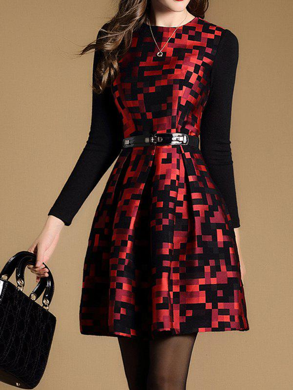 Plaid Print A-Line Dress plaid mini a line dress