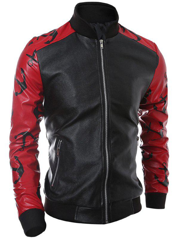 Zip-Up Stand Collar Printed Spliced PU Jacket pu leather spliced stand collar zip up jacket