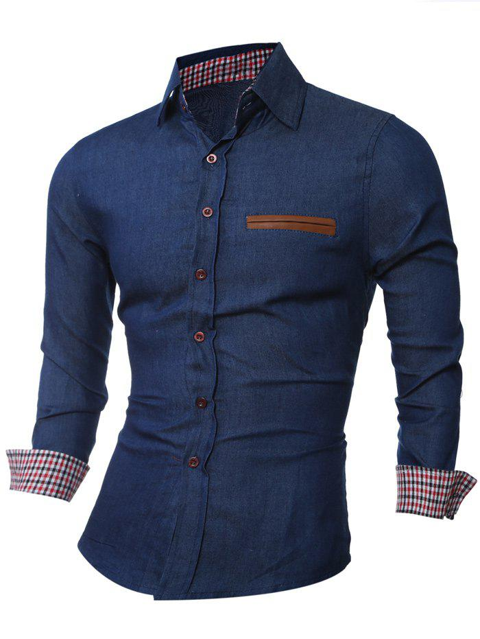 Button Up Leather Trim Breast Pocket Shirt - DEEP BLUE L