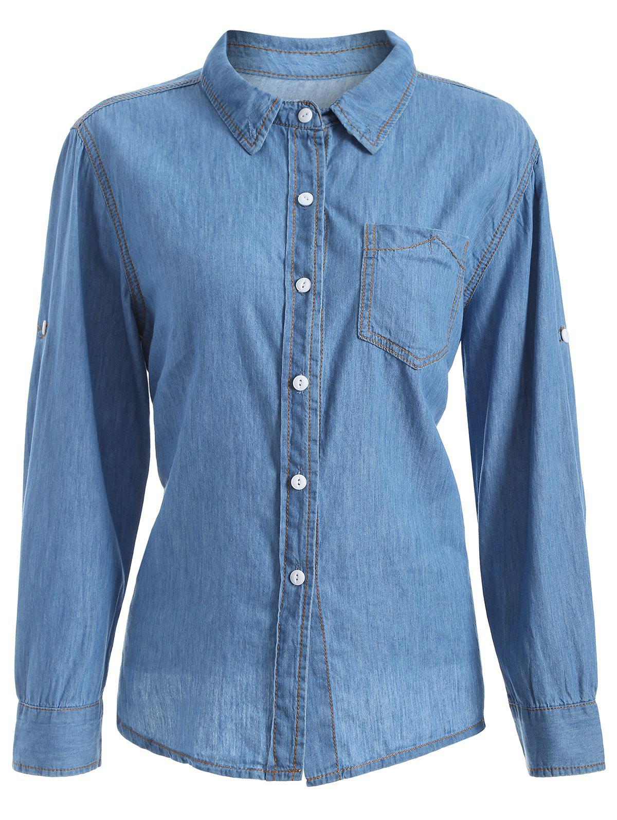 plus size chambray shirt with pocket, denim blue, xl in plus size