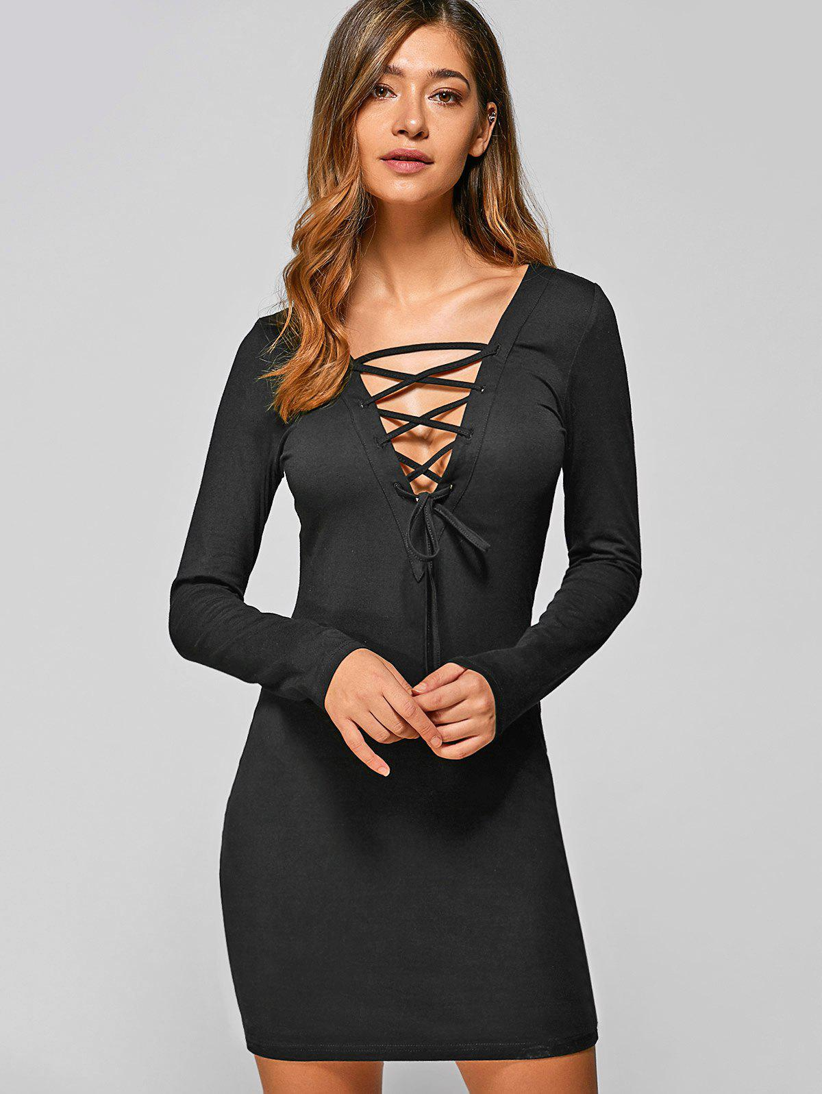 Lace Up Long Sleeve Lace Mini Bodycon Dress летние шины pirelli 205 55 r16 91v cinturato p7